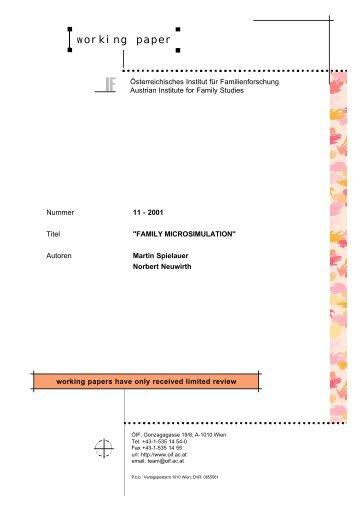 working paper - Österreichisches Institut für Familienforschung (ÖIF)
