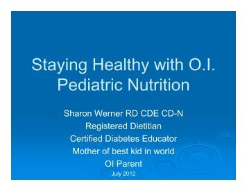 Staying Healthy with O.I. Pediatric Nutrition