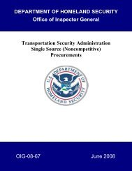 Transportation Security Administration Single Source (Noncompetitive)