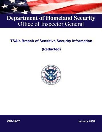 TSA's Breach of Sensitive Security Information - Office of Inspector ...