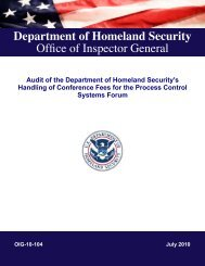 Audit of the Department of Homeland Security's Handling - Office of ...
