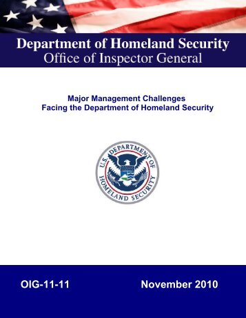 Major Management Challenges Facing the Department of ...