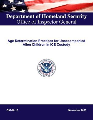 Age Determination Practices for Unaccompanied Alien Children in