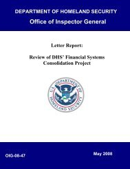 Letter Report: Review of DHS' Financial Systems Consolidation ...