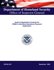 Audit of Application Controls for FEMA's Individual Assistance ...