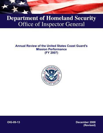 Annual Review Of The United States Coast Guard's Mission ...