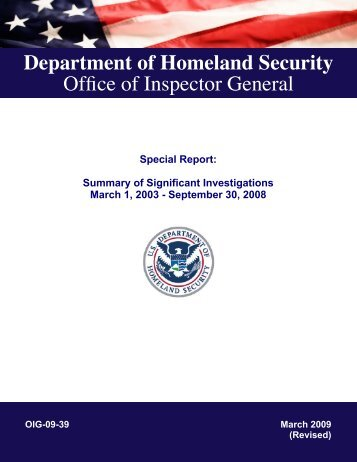 Special Report: Summary of Significant Investigations, March 1 ...