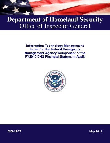 Information Technology Management Letter for the Federal ...