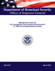 Management Letter for US Immigration and Customs Enforcement's ...