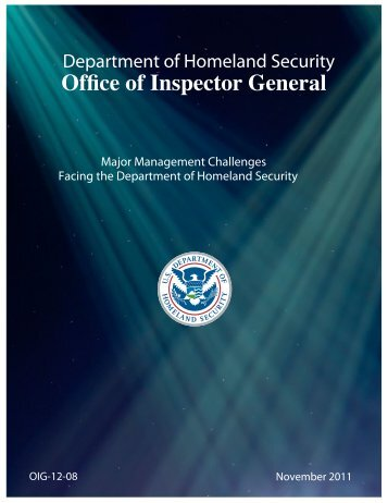 OIG – 12 -08 Major Management Challenges Facing the Department ...