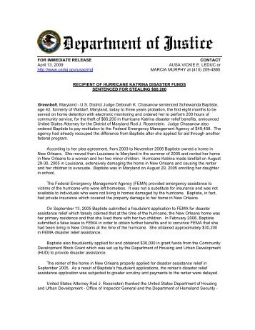 Recipient of Hurricane Katrina Disaster Funds Sentenced - Office of ...