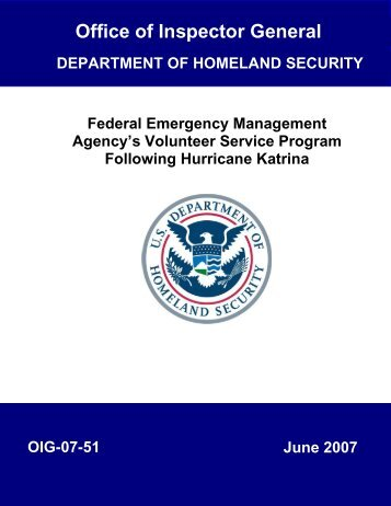 FEMA's Volunteer Service Program - Office of Inspector General ...