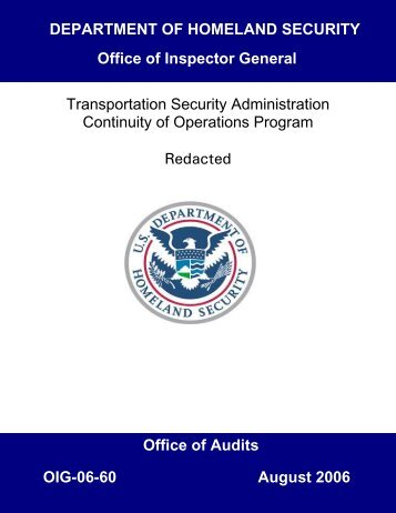 Transportation Security Administration Continuity of Operations ...