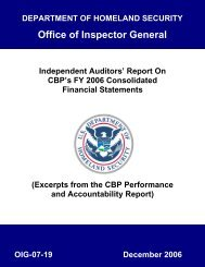 Report on CBP's FY 2006 Consolidated Financial Statement