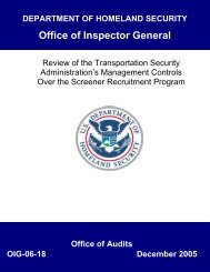 Review of the Transportation Security, Administration's Management ...