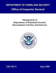 Management of Department of Homeland Security International ...