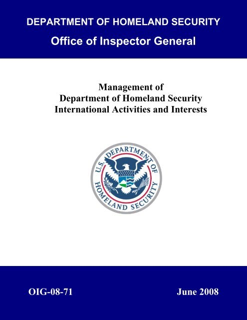 Management of Department of Homeland Security International ...