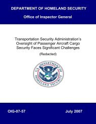 Transportation Security Administration's Oversight of Passenger ...