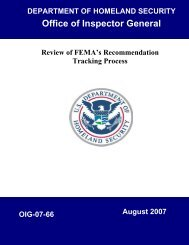 Review of FEMA's Recommendation Tracking Process - Office of ...