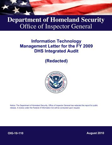 Information Technology Management Letter for the FY 2009 DHS ...