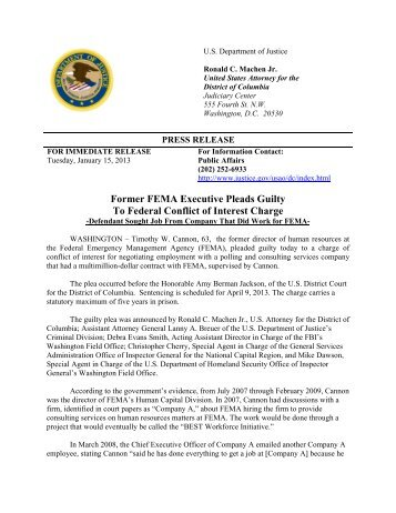 Former FEMA Executive Pleads Guilty To Federal Conflict of Interest ...