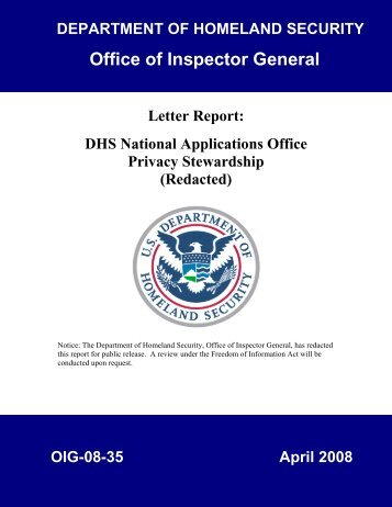 DHS National Applications Office Privacy Stewardship - Office of ...