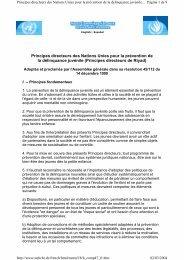 Principes directeurs des Nations Unies pour la prévention de la ...