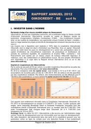 RAPPORT ANNUEL 2012 OIKOCREDIT - BE scrl fs