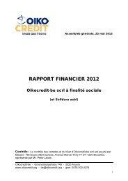 RAPPORT FINANCIER 2012 - Oikocredit