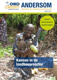 Kansen in de landbouwsector - Oikocredit