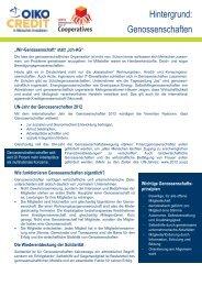 Hintergrund Genossenschaften und UN-Jahr - Oikocredit