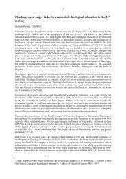 Challenges and major tasks for theological education - D. Werner