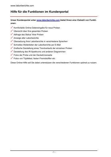 Hilfe für die Funktionen im Kundenportal - Oildoc
