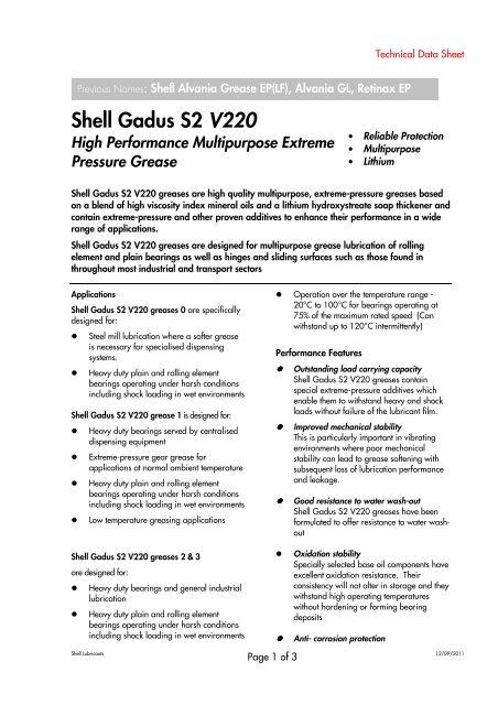 Shell Gadus S2 V220 V2 - OilsandStuff