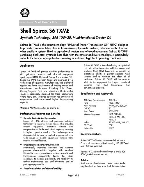 Shell Spirax S6 TXME - Oils & Stuff