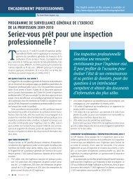 Seriez-vous prêt pour une inspection professionnelle ? - Ordre des ...