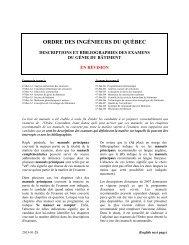 Génie bâtiment - Ordre des ingénieurs du Québec
