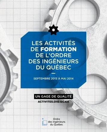 LES ACTIVITÉS DE formation DE L'ORDRE DES INGÉNIEURS DU ...