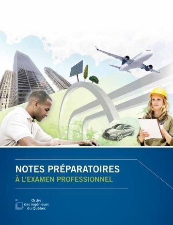Notes préparatoires à l'examen professionnel - Ordre des ...