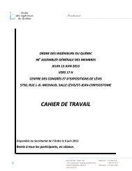 Cahier de travail AGA 2013 - Ordre des ingénieurs du Québec
