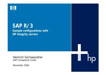 SAP R/3 Sample configurations with HP Integrity servers - eSell GmbH