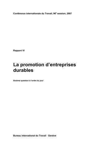 La promotion d'entreprises durables - International Labour ...