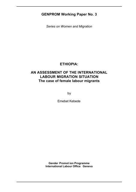 Ethiopia Working Paper - International Labour Organization