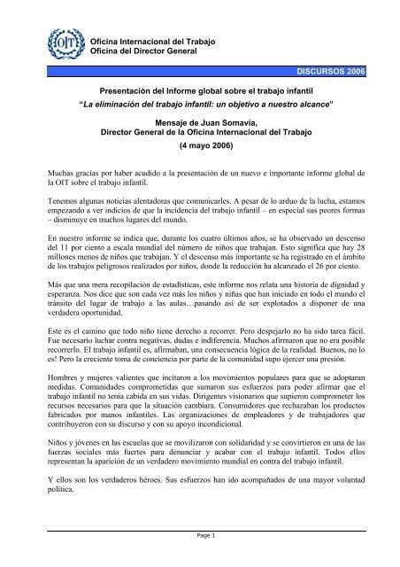 Presentación del Informe global sobre el trabajo infantil - (pdf 104.7 ...