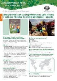 Sécurité et santé dans l'utilisation des produits agrochimiques : un ...