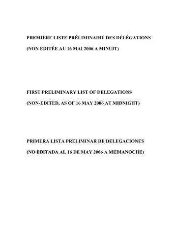 première liste préliminaire des délégations - International Labour ...