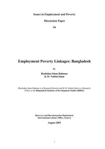 Employment poverty linkages - International Labour Organization