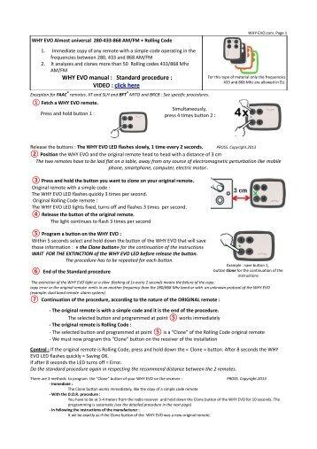 Manual clonare telecomanda universala automatizari porti