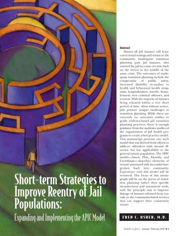 Short-term Strategies to Improve Reentry of Jail ... - GAINS Center