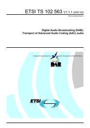 TS 102 563 - V1.1.1 - Digital Audio Broadcasting (DAB ... - ETSI